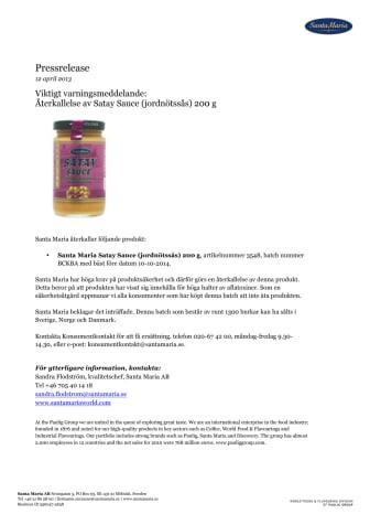 Viktigt varningsmeddelande: Återkallelse av Satay Sauce (jordnötssås) 200 g