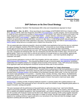 SAP levererar enligt sin One Cloud-strategi