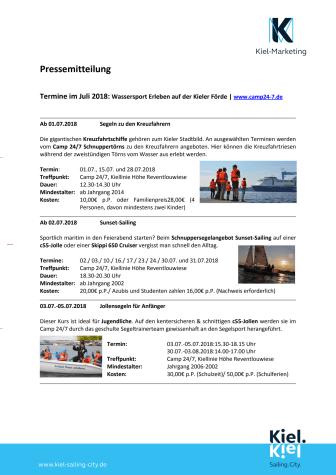 Freie Segeltermine im Juli 2018 im Camp 24/7
