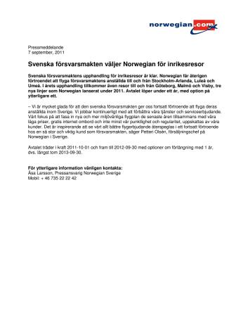 Svenska försvarsmakten väljer Norwegian för inrikesresor