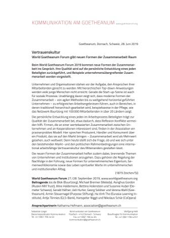 Vertrauenskultur. World Goetheanum Forum gibt neuen Formen der Zusammenarbeit Raum