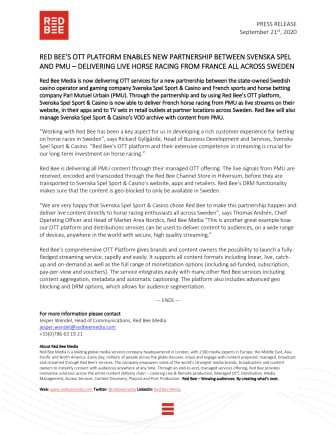 Red Bee's OTT Platform Enables New Partnership Between Svenska Spel and PMU - Delivering Live Horse Racing From France all Across Sweden