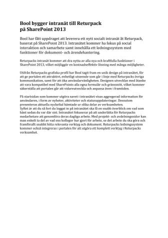 Bool bygger intranät till Returpack  på SharePoint 2013