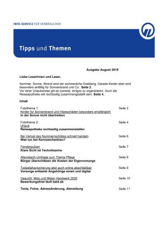 Tipps und Themen 8-2019