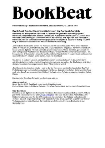 BookBeat Deutschland verstärkt sich im Content-Bereich