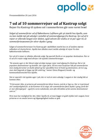 7 ud af 10 sommerrejser ud af Kastrup solgt