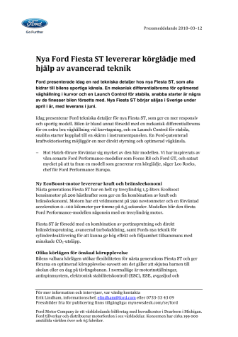 Nya Ford Fiesta ST levererar körglädje med hjälp av avancerad teknik