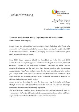 Exklusives Benefizkonzert: Johnny Logan zugunsten der Elternhilfe für krebskranke Kinder Leipzig