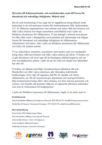 Skrivelse till Arbetsmarknads- och socialnämnden samt till Forum för demokrati och mänskliga rättigheter, Malmö stad.pdf