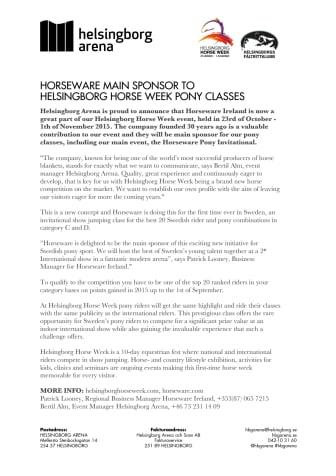 Horseware huvudsponsor till Helsingborg Horse Weeks ponnyklasser