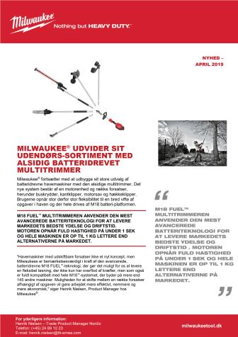 MILWAUKEE® UDVIDER SIT UDENDØRS-SORTIMENT MED ALSIDIG BATTERIDREVET MULTITRIMMER