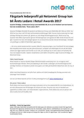 Färgstark ledarprofil på Netonnet Group kan bli Årets Ledare i Retail Awards 2017