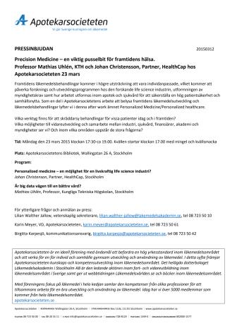Pressinbjudan: Välkommen till Precision medicine - en viktig pusselbit för framtidens hälsa 23 mars