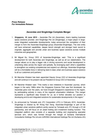 Ascendas and Singbridge Complete Merger