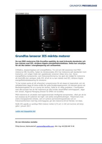Grundfos lanserar IE5 märkta motorer
