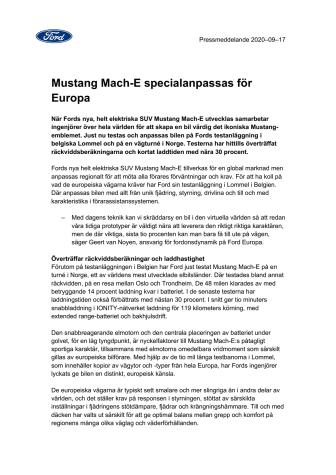 Mustang Mach-E specialanpassas för Europa