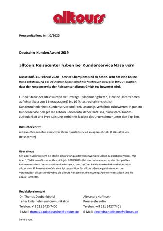 Deutscher Kunden Award 2019 - alltours Reisecenter haben bei Kundenservice Nase vorn