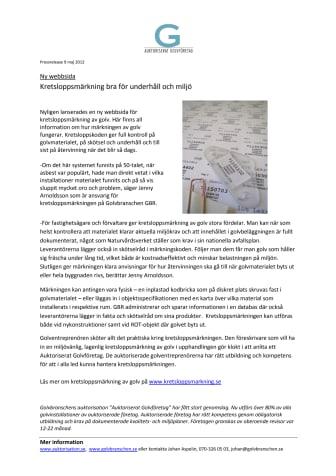Ny webbsida; Kretsloppsmärkning bra för underhåll och miljö