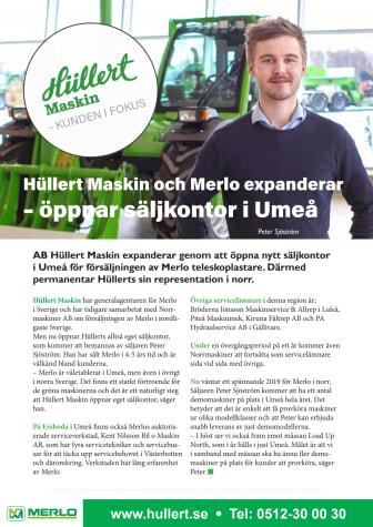 Hüllert Maskin och Merlo expanderar – öppnar säljkontor i Umeå