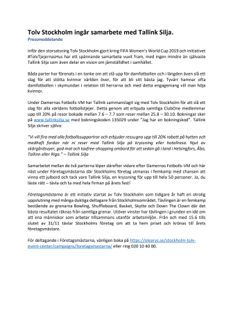 Tolv Stockholm ingår samarbete med Tallink Silja
