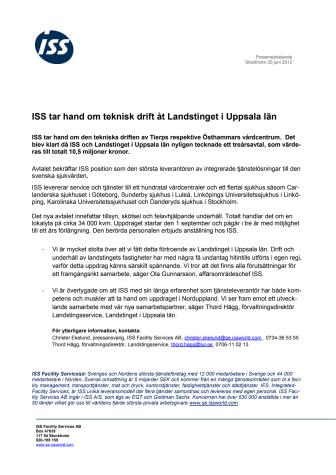 ISS tar hand om teknisk drift åt Landstinget i Uppsala län