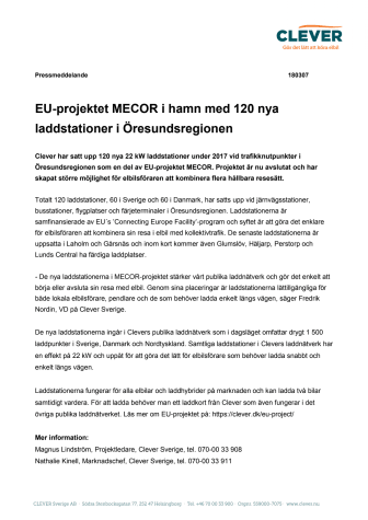 EU-projektet MECOR i hamn med 120 nya laddstationer i Öresundsregionen
