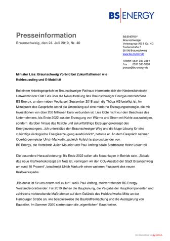 Minister Lies: Braunschweig Vorbild bei Zukunftsthemen wie Kohleausstieg und E-Mobilität