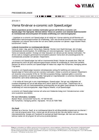 Visma förvärvar e-conomic och SpeedLedger