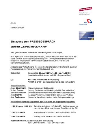 "Pressekonferenz ""Leipzig REGIO Card"" am 3. April in Bad Lausick"