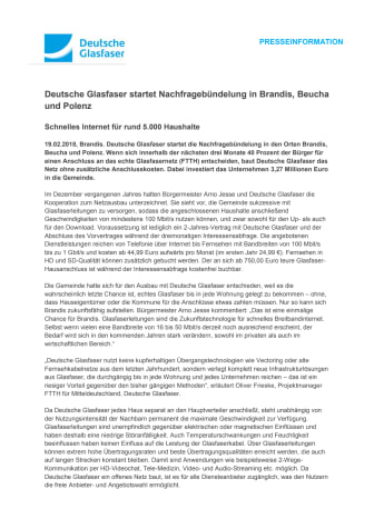 Deutsche Glasfaser startet Nachfragebündelung in Brandis, Beucha und Polenz