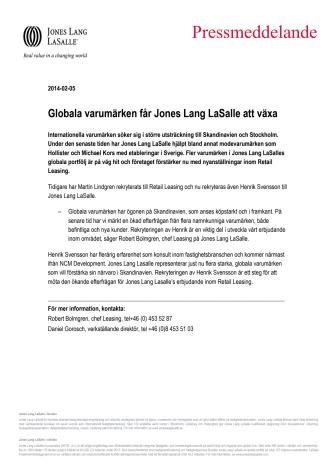 Globala varumärken får Jones Lang LaSalle att växa