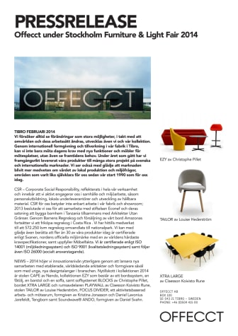 Offecct under Stockholm Furniture & Light Fair 2014