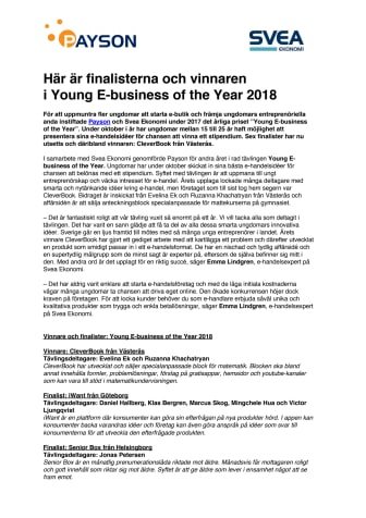Här är finalisterna och vinnaren  i Young E-business of the Year 2018