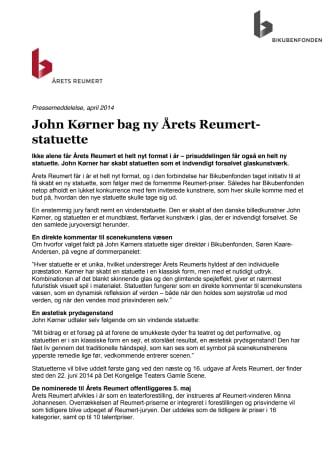 John Kørner bag ny Årets Reumert-statuette