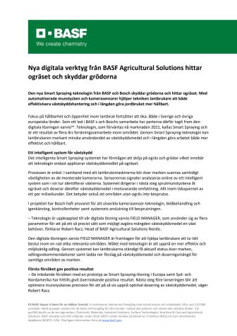Nya digitala verktyg från BASF Agricultural Solutions hittar ogräset och skyddar grödorna