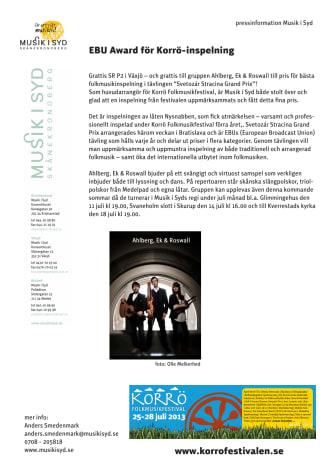 EBU Award för Korrö-inspelning