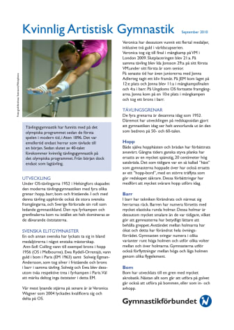 Faktablad Kvinnlig Artistisk Gymnastik mars 2010