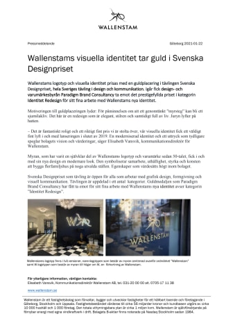 Wallenstams visuella identitet tar guld i Svenska Designpriset