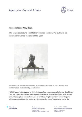 The Mother - pressnews 27may2021 - the large sculpture The Mother will be installed towards the end of the year