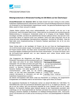 Bibertgrundschule in Wintersdorf künftig mit 300 Mbit/s auf der Überholspur