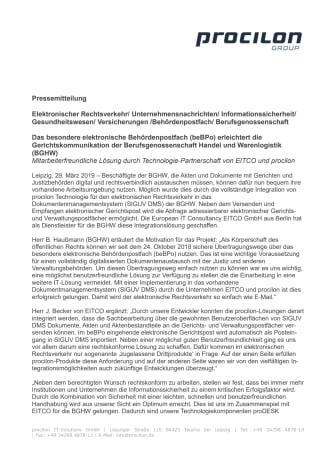 Das besondere elektronische Behördenpostfach (beBPo) erleichtert die Gerichtskommunikation der Berufsgenossenschaft Handel und Warenlogistik (BGHW)