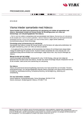 Visma inleder samarbete med Adecco