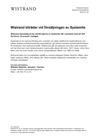 Wistrand biträder vid försäljningen av Systemite