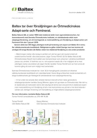 Baltex tar över försäljningen av Örtmedicinskas Adapt-serie och Femineral.