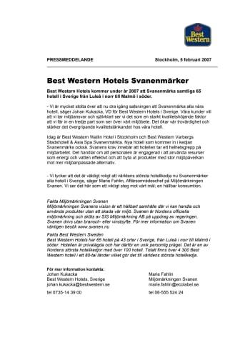 Best Western Hotels Svanenmärker