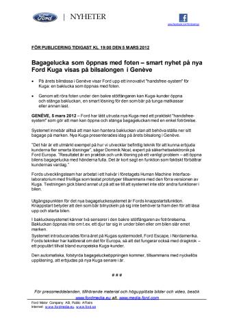Bagagelucka som öppnas med foten – smart nyhet på nya Ford Kuga visas på bilsalongen i Genève