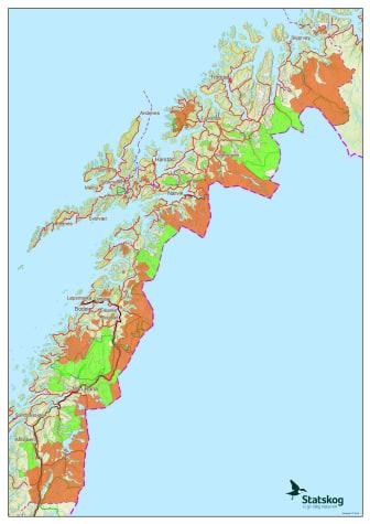 Oversikt over jaktfelt som er åpne for vinterjakt i Nordland og Troms