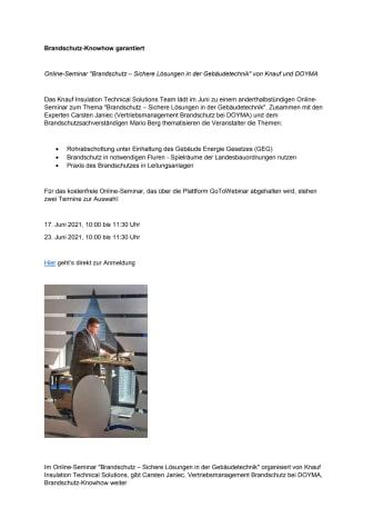 """Online-Seminar """"Brandschutz – Sichere Lösungen in der Gebäudetechnik"""" von Knauf und DOYMA"""