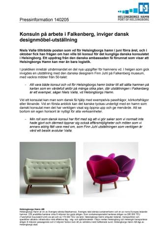 Konsuln på arbete i Falkenberg, inviger dansk designmöbel-utställning