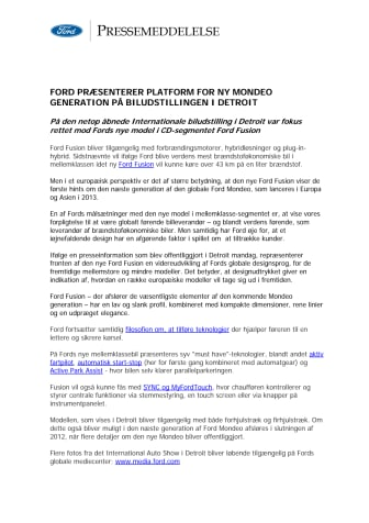 FORD PRÆSENTERER PLATFORM FOR NY MONDEO GENERATION PÅ BILUDSTILLINGEN I DETROIT